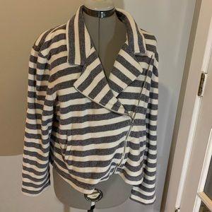 LOFT blue/white striped cotton jacket, Sz XL